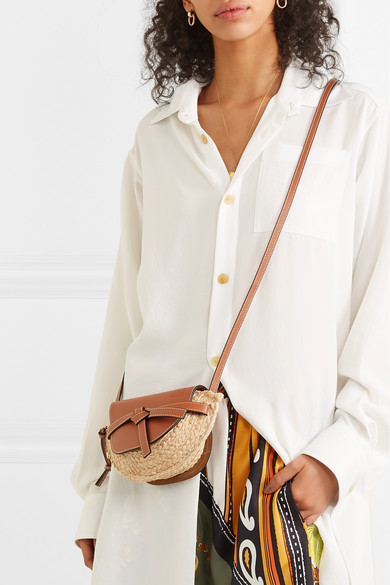 5cd843bf0f Loewe | Gate mini leather and woven raffia shoulder bag | NET-A ...