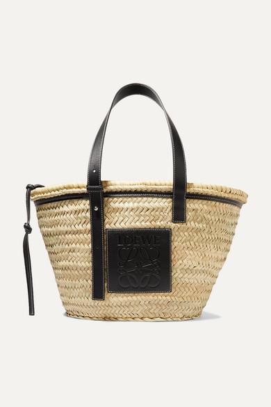 LOEWE | Loewe - Leather-Trimmed Woven Raffia Tote - Black | Goxip