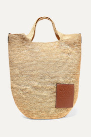 Slit leather-trimmed woven raffia tote