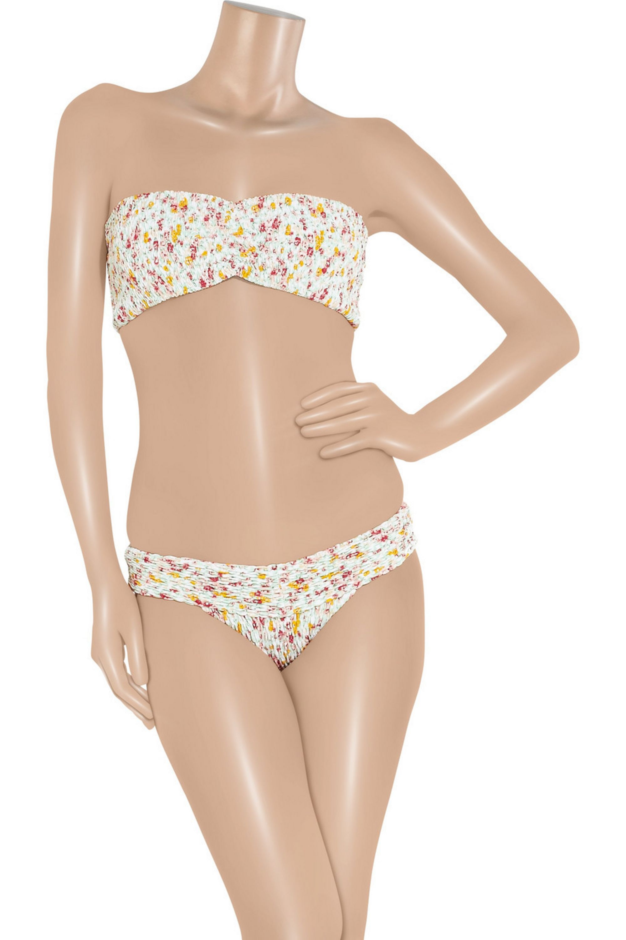 Tori Praver Betty printed smocked bandeau bikini top