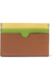 Color-block textured-leather cardholder
