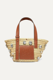 Loewe Embellished leather-trimmed woven raffia tote