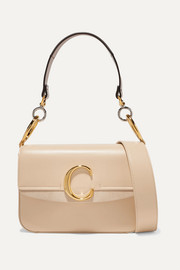 Chloé Chloé C small suede-trimmed leather shoulder bag