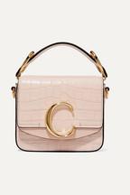 Chloé Chloé C mini suede-trimmed croc-effect leather shoulder bag 4b0d092796