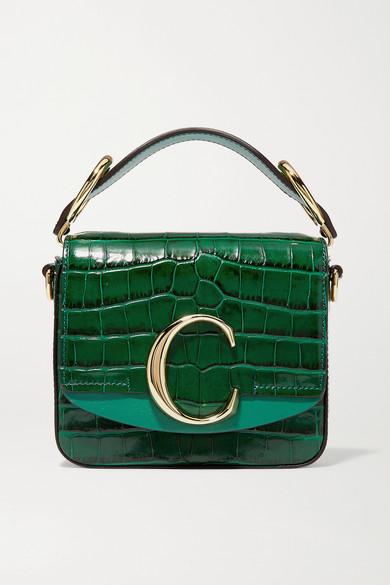 CHLOE   Chloé - Chloé C Mini Croc-effect Leather Shoulder Bag - Emerald   Goxip