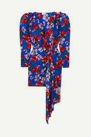 Lagos wrap-effect floral-print silk-jacquard mini dress