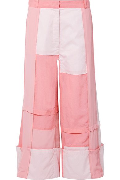 J.w.anderson PATCHWORK COTTON, BRUSHED-TWILL AND CREPE DE CHINE PANTS