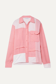 Oversized patchwork cotton, brushed-twill and crepe de chine shirt