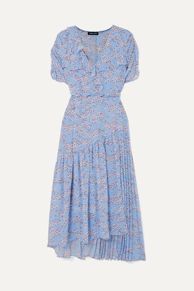Nevada Wrap Effect Ruffled Floral Print Georgette Midi Dress by Markus Lupfer