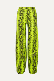 Off-White Neon snake-effect leather straight-leg pants