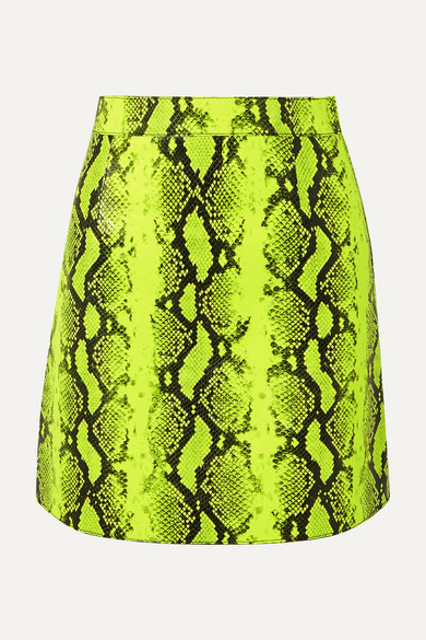 d9d8dee54a Off-White | Neon snake-effect leather mini skirt | NET-A-PORTER.COM