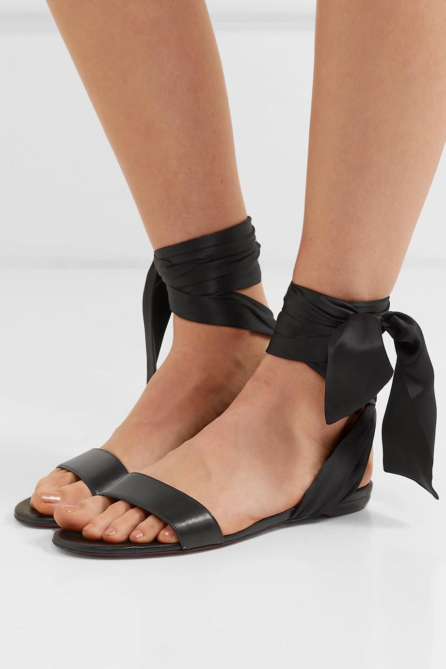 Christian Louboutin Sandale Du Desert leather and satin sandals