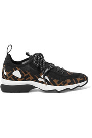 Fendi Logo-print appliquéd neoprene and mesh sneakers