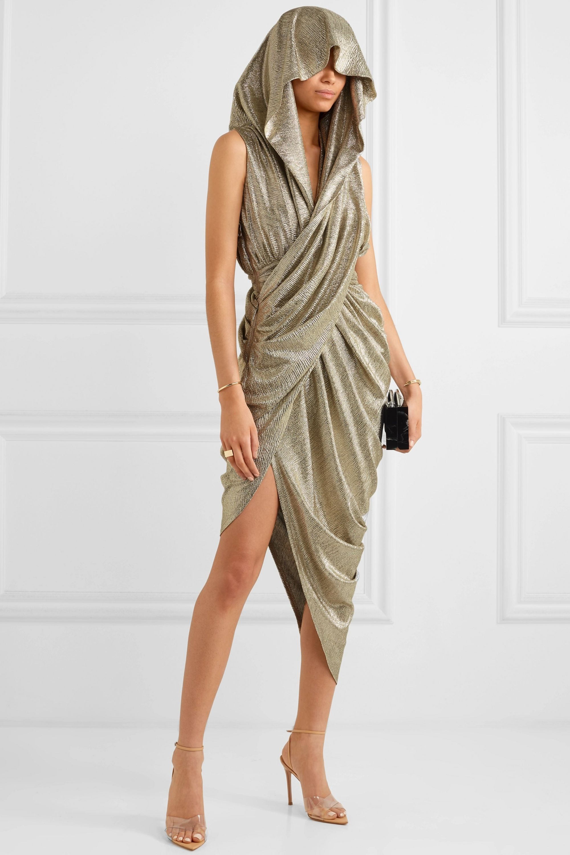 Balmain Hooded draped metallic-knit dress
