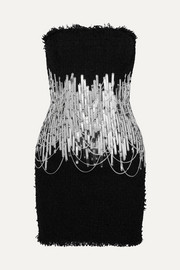 Balmain Embellished strapless tweed mini dress