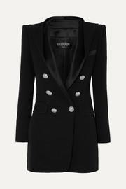 Hooded button-embellished satin-trimmed crepe blazer