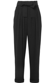 Belted crepe tapered pants