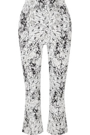 Cropped cracked stretch-cotton jersey flared pants