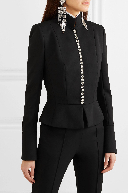 Alexandre Vauthier Crystal-embellished wool-blend gabardine peplum jacket