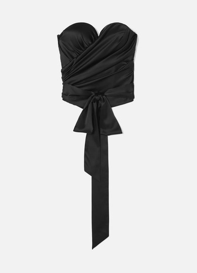 Draped Stretch Silk Satin Bustier Top by Alexandre Vauthier