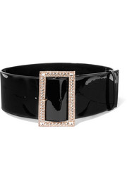 Crystal-embellished patent-leather belt