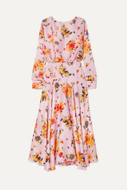 Majorelle gathered floral-print plissé-satin midi dress