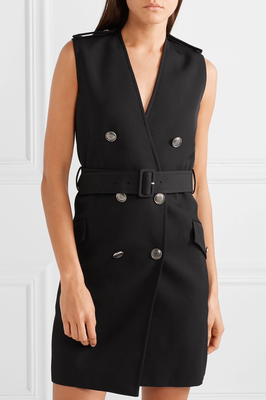 Givenchy Mini-robe à double boutonnage en laine grain de poudre à ceinture