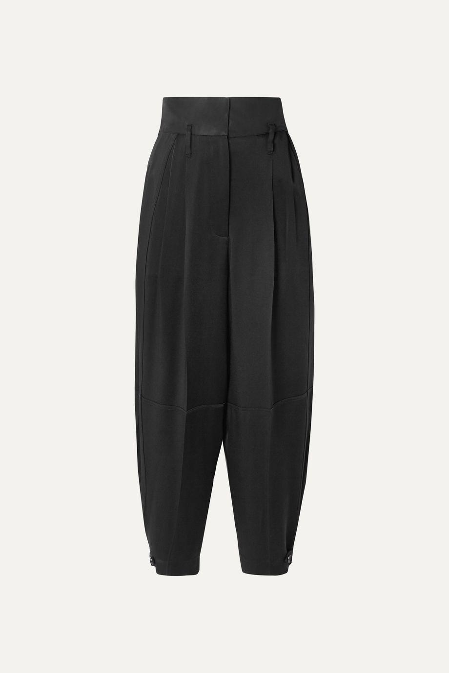 Givenchy Gabardine-paneled satin-crepe tapered pants