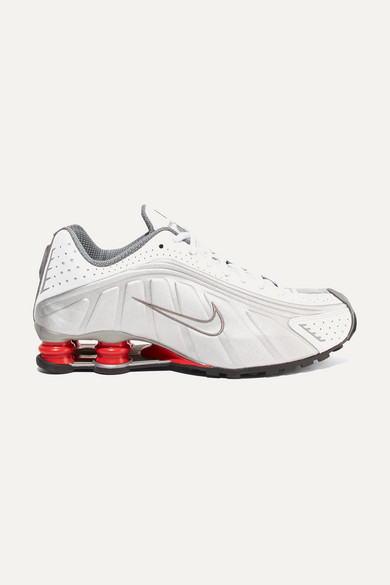 Nike. Shox R4 metallic leather sneakers ac60140f8