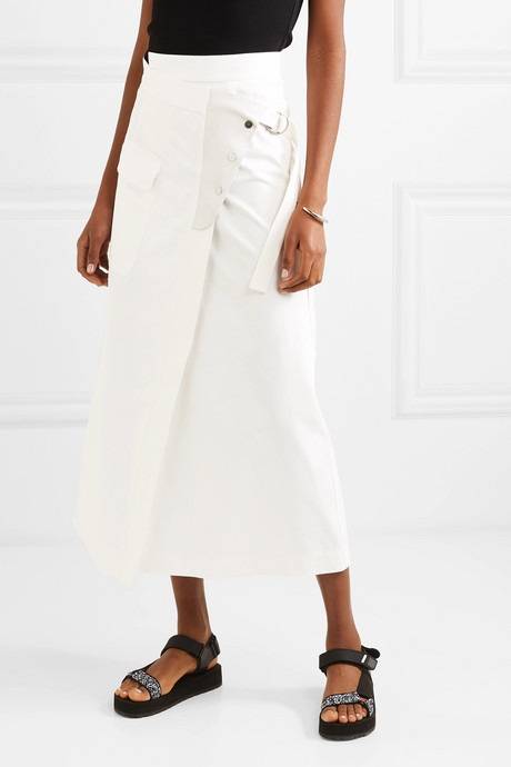 Linette suede-trimmed cotton-twill wrap skirt