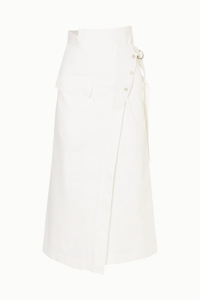 GOLDEN GOOSE DELUXE BRAND   Golden Goose - Linette Suede-Trimmed Cotton-Twill Wrap Skirt - White   Goxip