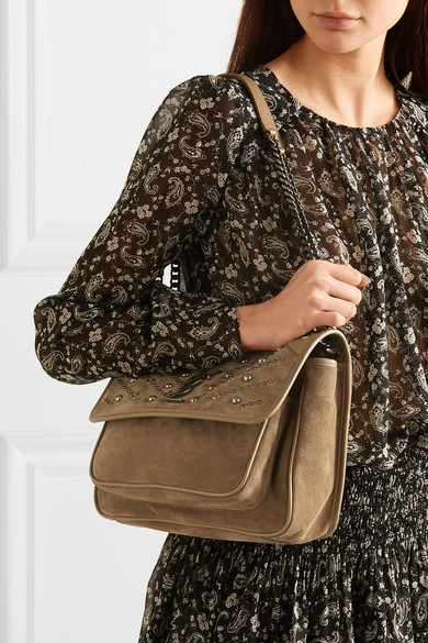 Saint Laurent Shoulder Niki medium embellished suede shoulder bag