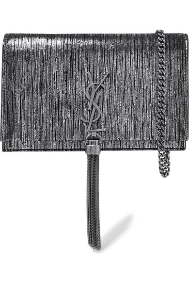 Monogramme Kate Small Metallic Suede Shoulder Bag by Saint Laurent