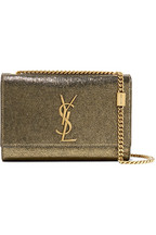 581da6e3a578 Saint Laurent Kate metallic cracked-leather shoulder bag