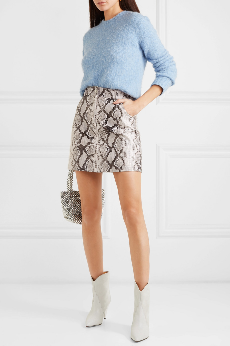 606f408d45f3c Maje Snake-print leather mini skirt