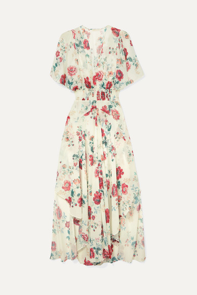 Maje Dresses Shirred floral-print georgette midi dress