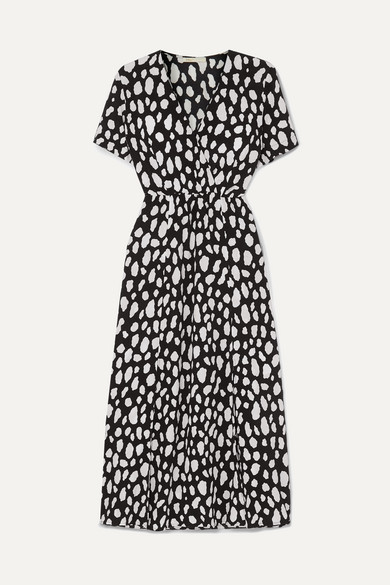 Midi Maje Black Modesens Dress Effect Crepe Wrap Printed In rO0wqI046