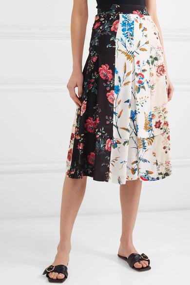 Maje Skirts Pleated floral-print crepe de chine midi skirt