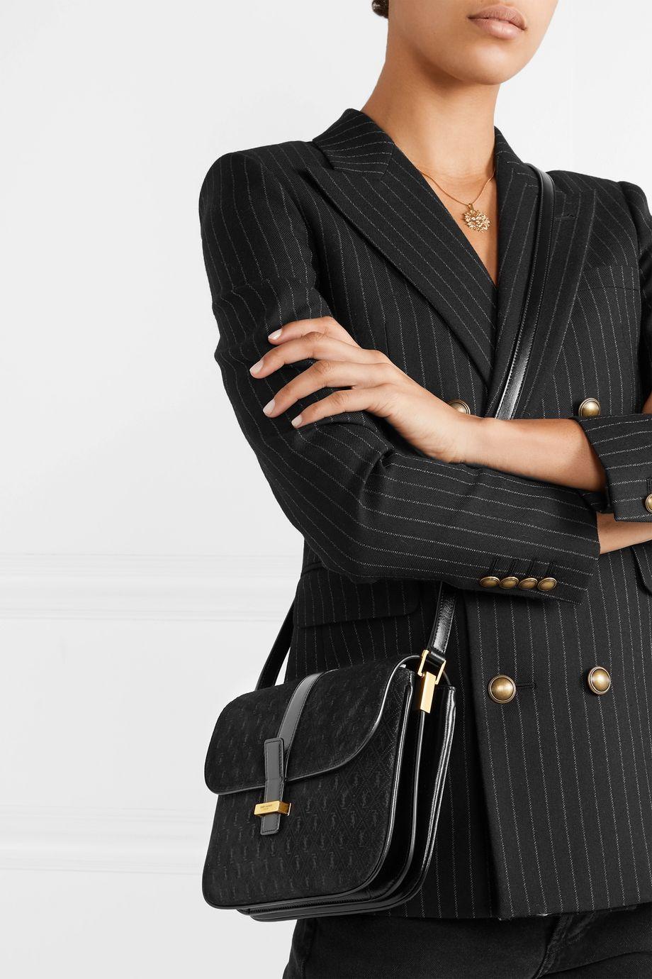 SAINT LAURENT Monogramme leather-trimmed suede shoulder bag