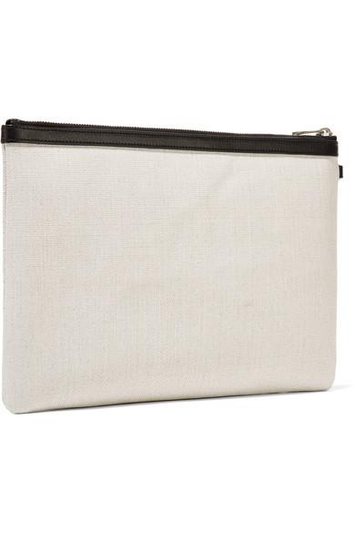 Saint Laurent Clutch Leather-trimmed printed canvas pouch