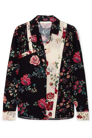 Floral Print Crepe Shirt by Maje
