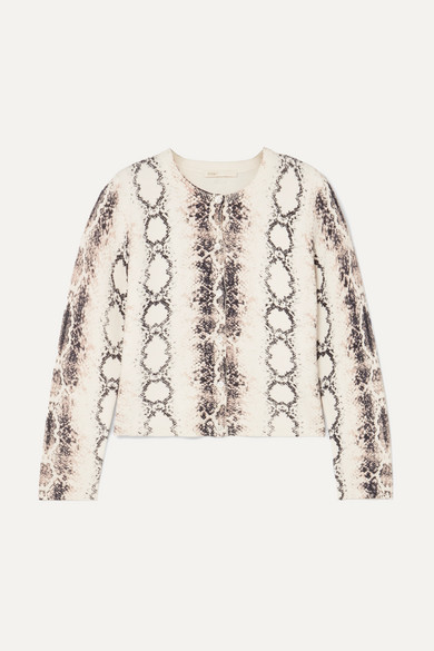 Maje Knits Snake-print knitted cardigan