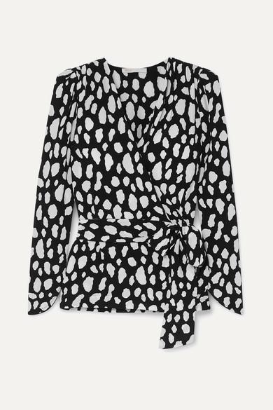 MAJE | Maje - Printed Crepe Wrap Top - Black | Goxip