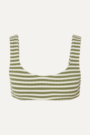 The Elle striped ribbed stretch bikini top