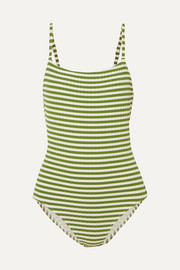 Solid & Striped The Nina striped ribbed stretch-knit swimsuit