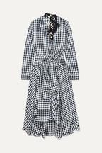 ddc1c844c52 Maje Wrap-effect floral-print crepe-trimmed gingham seersucker dress