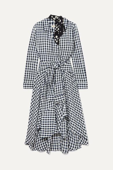 Wrap-effect floral-print crepe-trimmed gingham seersucker dress