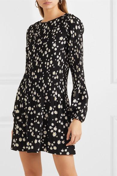 Maje | Mini robe en crêpe plissée à imprimé fleuri | NET A
