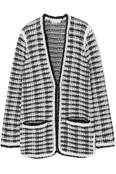 Maje Jewelries J striped cotton-blend cardigan