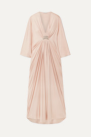 Draped embellished silk-jersey maxi dress